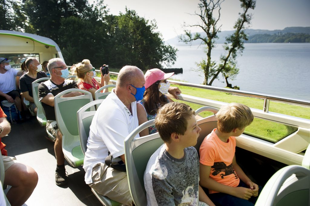 Passengers on the Stagecoach 599 bus from Bowness on Windermere to Grasmere